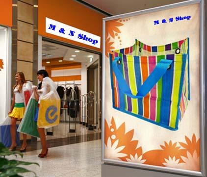หน้าแรกของร้าน  จำหน่ายกระเป๋าพลาสติก ทรงแฟชั่น  สีสันสดใส มีความแข็งแรง ทนทาน กันน้ำได้                                                                                                   M & N Shop